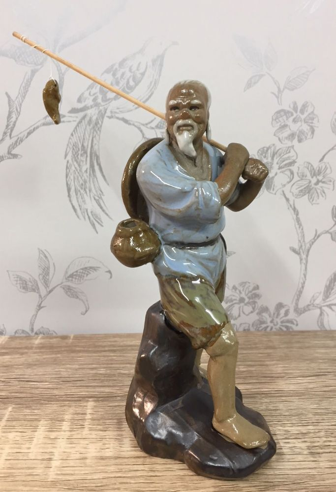 Ceramic Traditional Chinese Fisherman - Standing, Blue